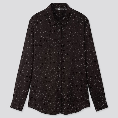 Women Rayon Printed Long-Sleeve Blouse, Black, Medium