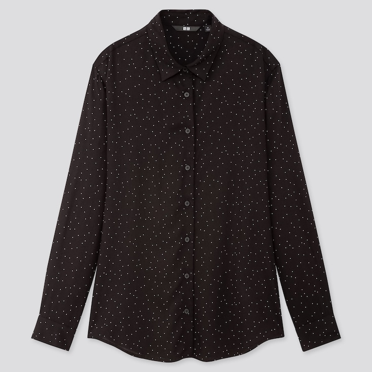 Women Rayon Printed Long-Sleeve Blouse, Black, Large