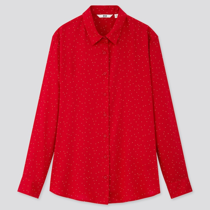 Women Rayon Printed Long-Sleeve Blouse, Red, Large