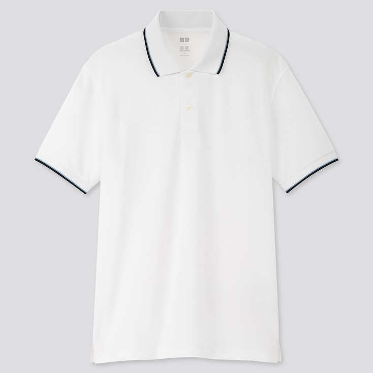 Men Dry-Ex Pique Short-Sleeve Polo Shirt, White, Large