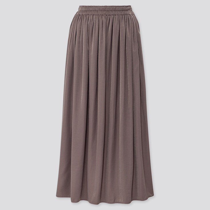 Women Drape Gathered Long Skirt, Dark Gray, Large