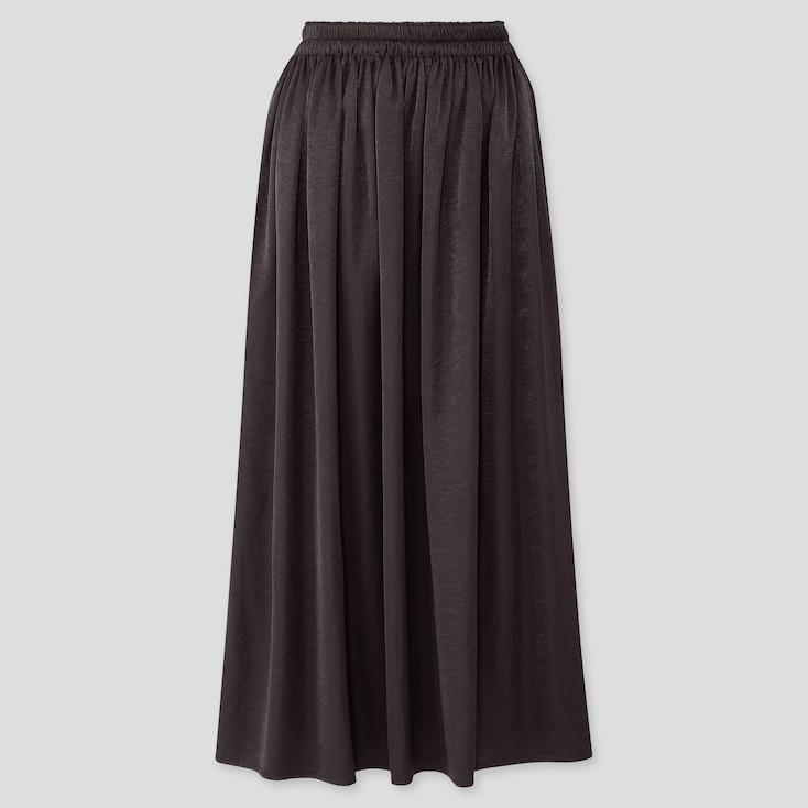 Women Drape Gathered Long Skirt, Black, Large