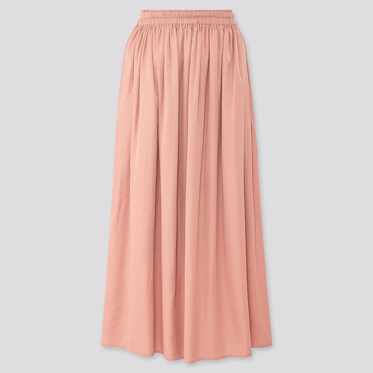 Women Drape Gathered Long Skirt, Pink, Large