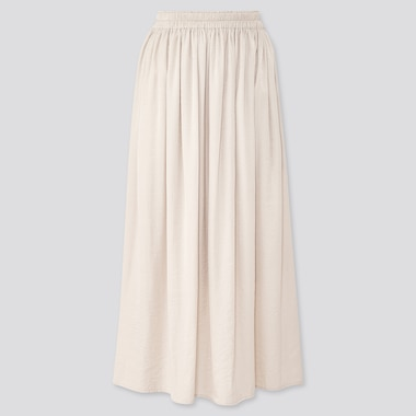Women Drape Gathered Long Skirt, Natural, Medium