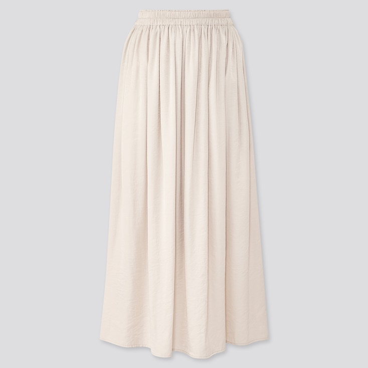 Women Drape Gathered Long Skirt, Natural, Large