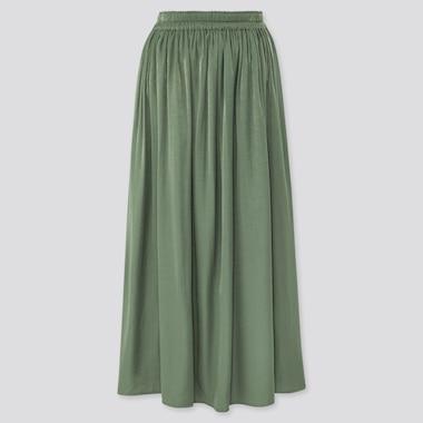 Women Drape Gathered Long Skirt, Green, Medium