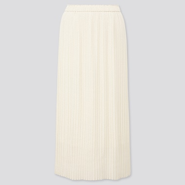 Women Chiffon Pleated Printed Long Skirt, Off White, Medium