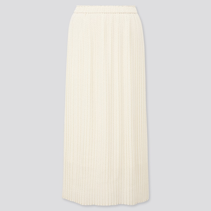 Women Chiffon Pleated Printed Long Skirt, Off White, Large