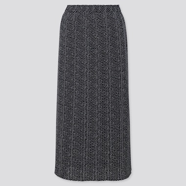 Women Chiffon Pleated Printed Maxi Skirt