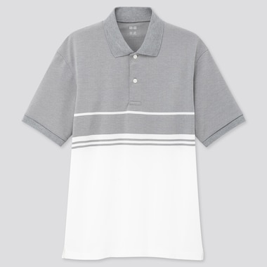 Men Dry-Ex Pique Short-Sleeve Polo Shirt, Gray, Medium