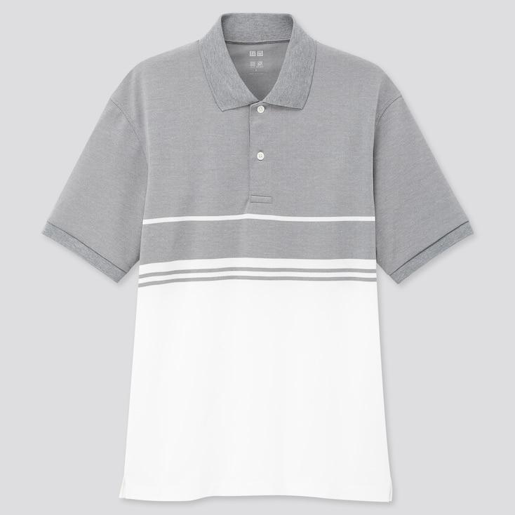 Men Dry-Ex Pique Short-Sleeve Polo Shirt, Gray, Large