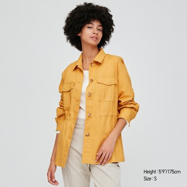 Women Linen Cotton Blend Shirt Jacket