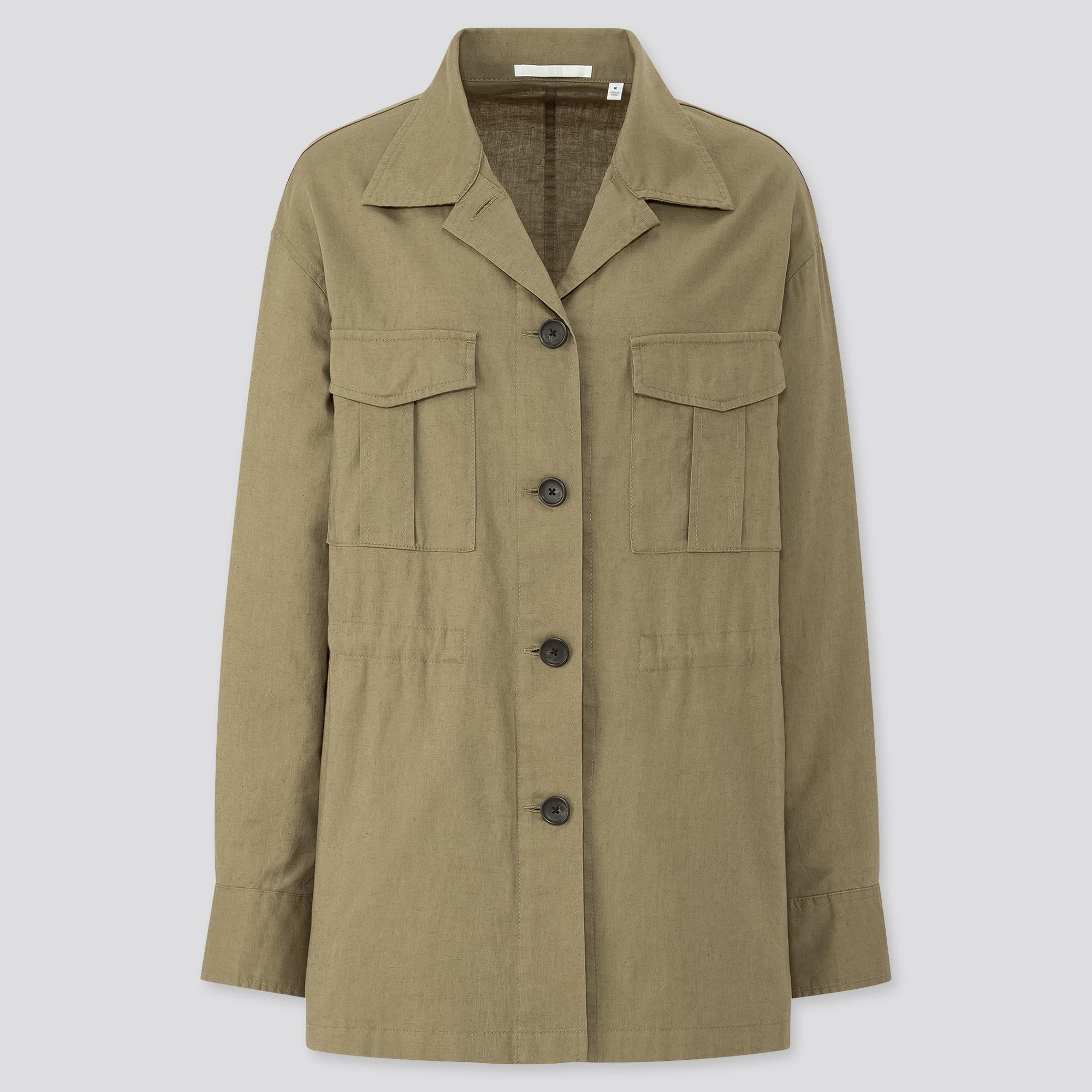 Women Linen Cotton Blend Shirt Jacket