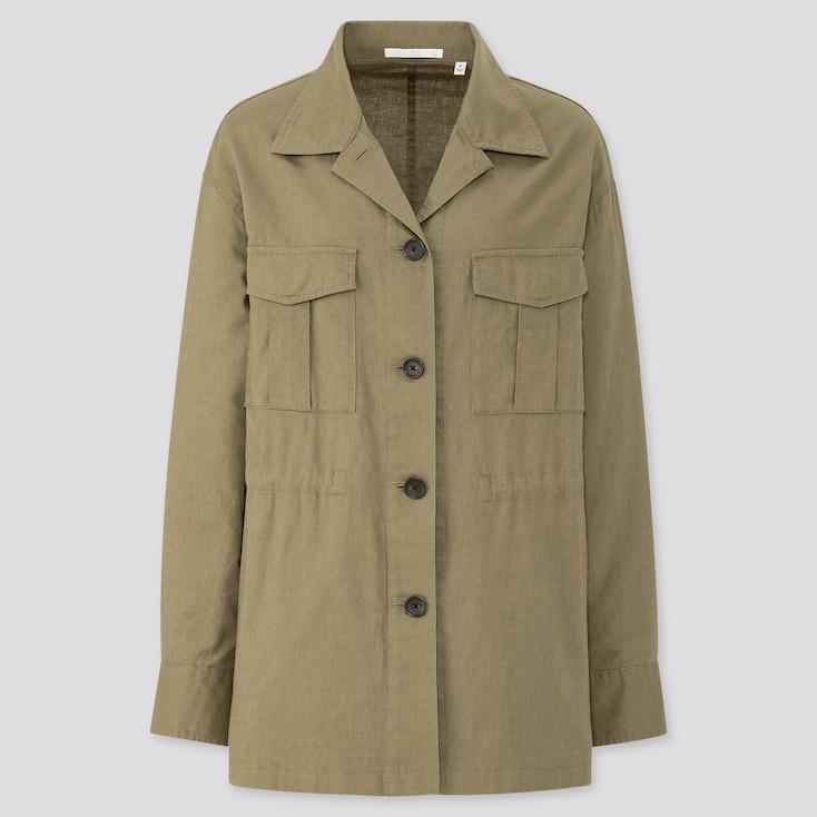 Women Linen Cotton Shirt Jacket, Green, Large