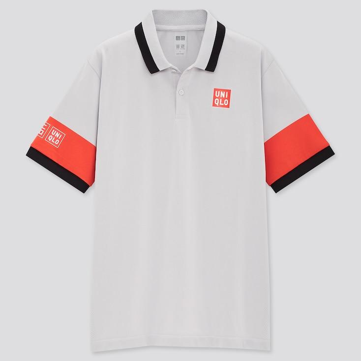 Men Dry-Ex Polo Shirt (Kei Nishikori), Light Gray, Large