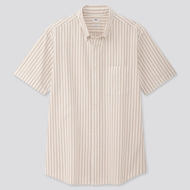 Men Oxford Slim-Fit Striped Short-Sleeve Shirt, Beige, Medium