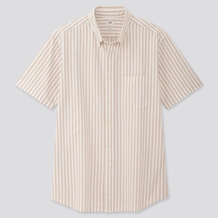Men Oxford Slim-Fit Striped Short-Sleeve Shirt, Beige, Large