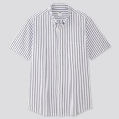 Men Oxford Slim-Fit Striped Short-Sleeve Shirt, Blue, Medium