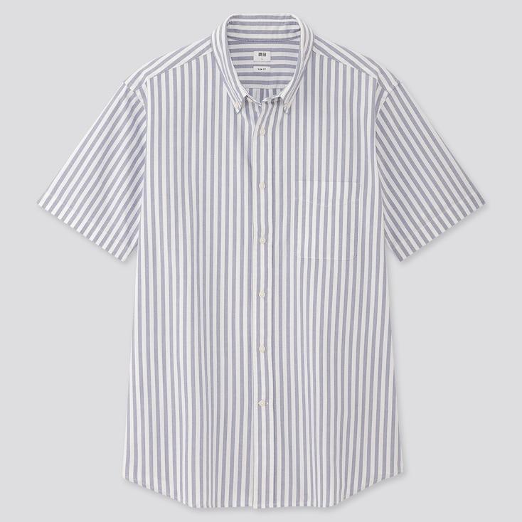 Men Oxford Slim-Fit Striped Short-Sleeve Shirt, Blue, Large