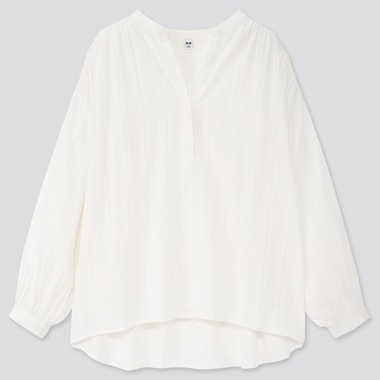 Women Cotton Dobby Long-Sleeve Blouse, White, Medium