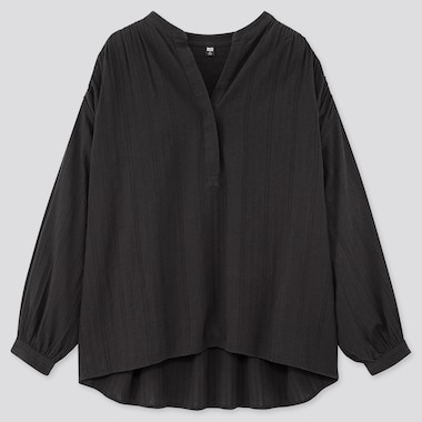 Women Cotton Dobby Long-Sleeve Blouse, Black, Medium