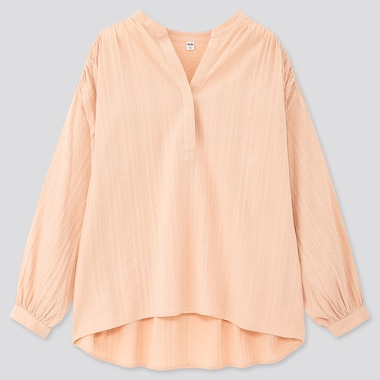 Women Cotton Dobby Long-Sleeve Blouse, Light Orange, Medium
