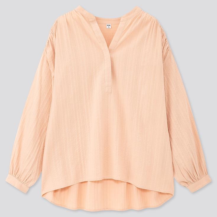 Women Cotton Dobby Long-Sleeve Blouse, Light Orange, Large