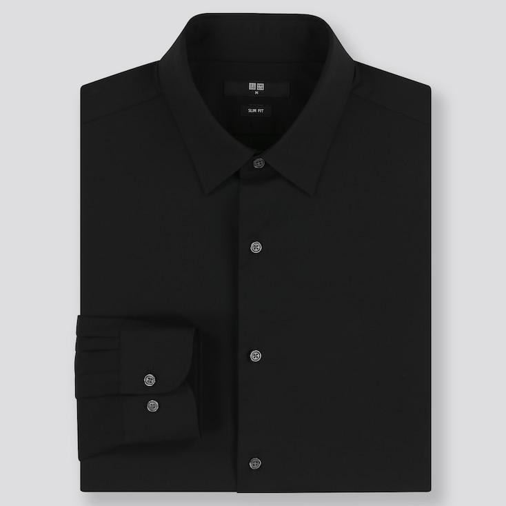 Men Easy Care Slim-Fit Long-Sleeve Shirt, Black, Large