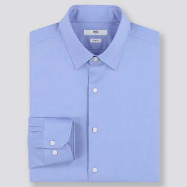 MEN EASY CARE SLIM-FIT LONG-SLEEVE SHIRT, BLUE, medium