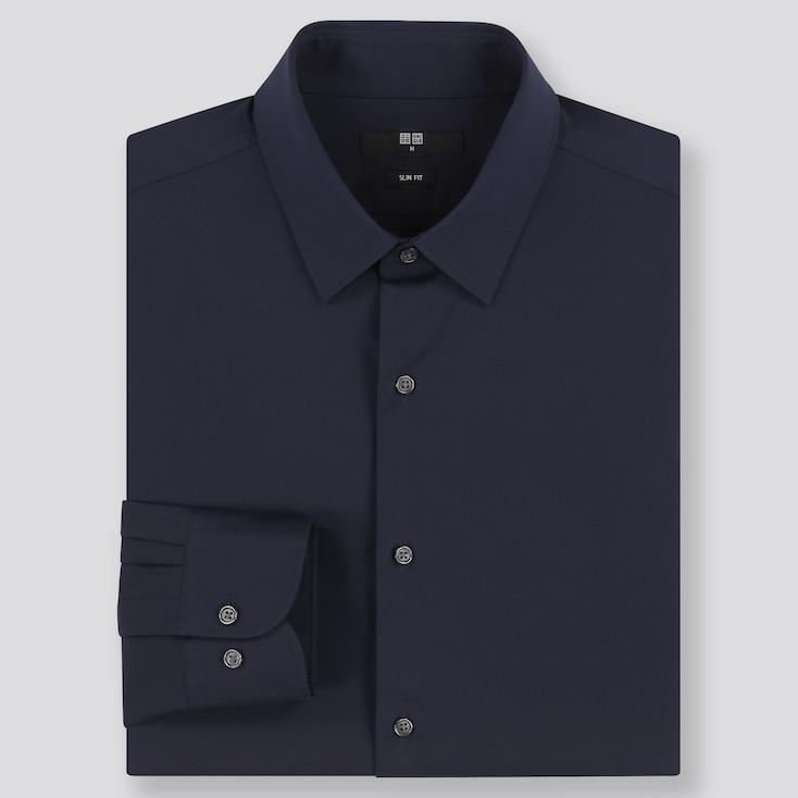 Men Easy Care Slim-Fit Long-Sleeve Shirt, Navy, Large