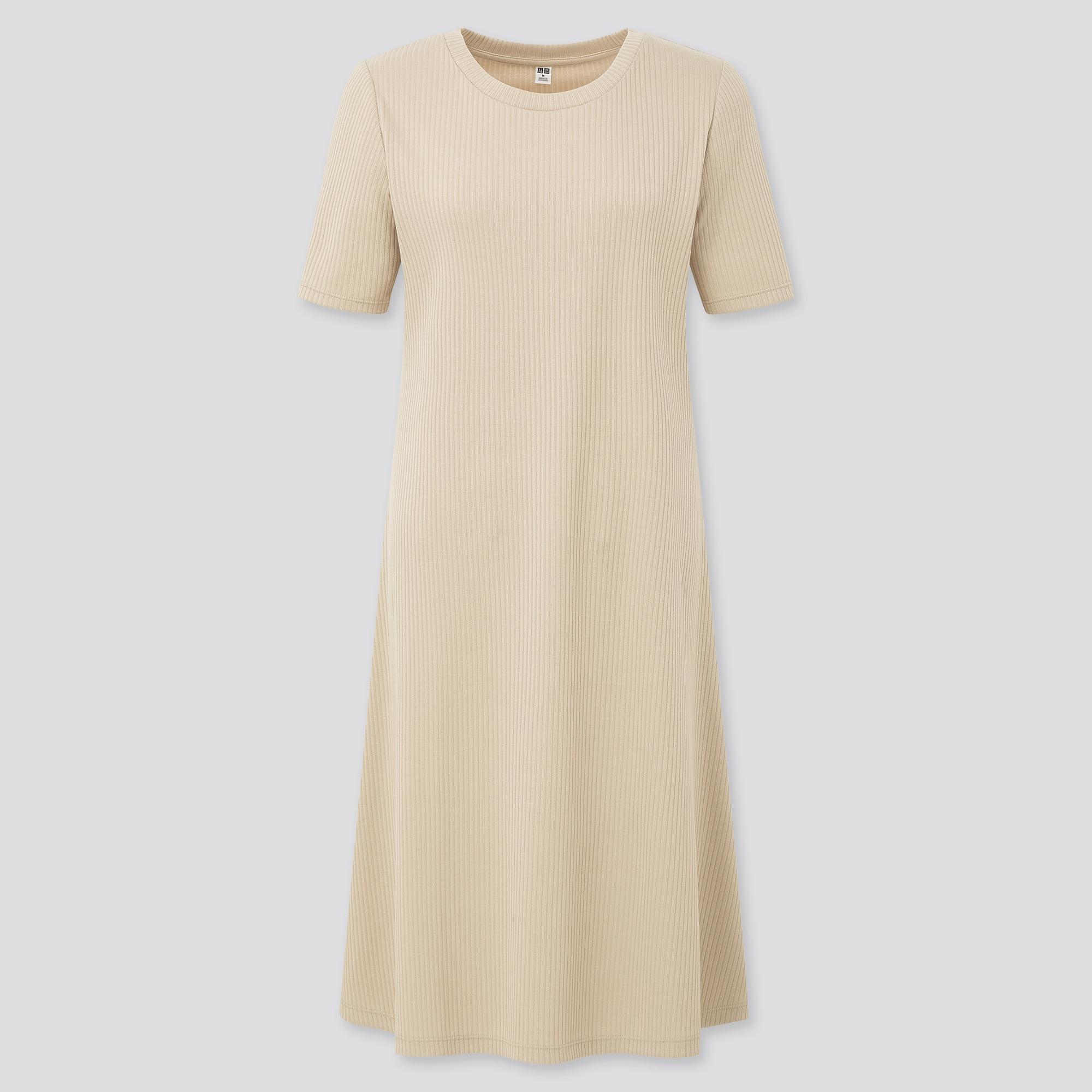 WOMEN RIBBED CREW NECK SHORT-SLEEVE FLARE DRESS