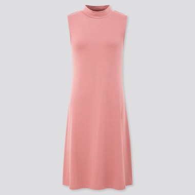 Women Mock Neck Sleeveless Flare Dress, Pink, Medium