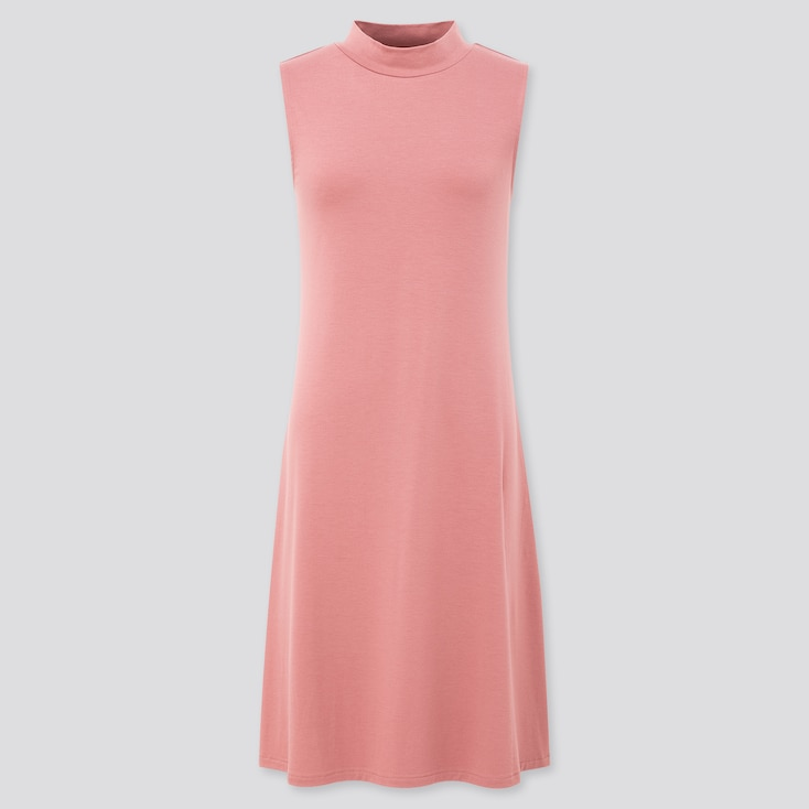 Women Mock Neck Sleeveless Flare Dress, Pink, Large