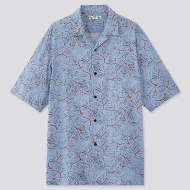 Men Japanese Auspicious Symbol Short Sleeved Shirt (Open Collar)
