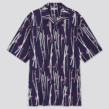 Men Open Collar Short-Sleeve Shirt, Navy, Medium