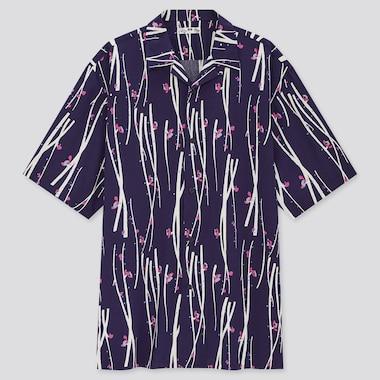 Men Open Collar Short-Sleeve Shirt, Navy, Medium