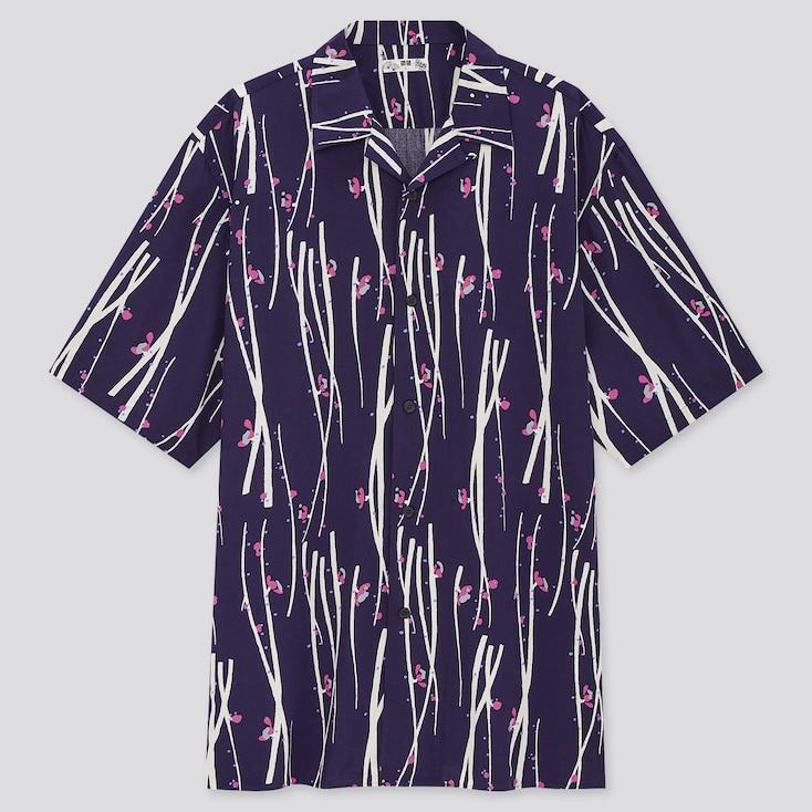 Men Open Collar Short-Sleeve Shirt, Navy, Large
