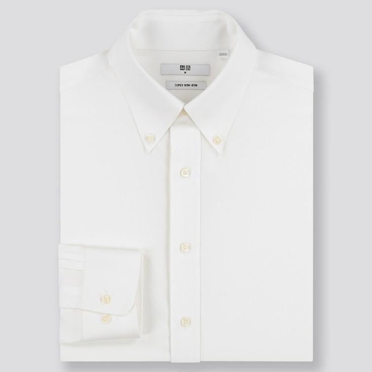 Men Super Non-Iron Regular-Fit Long-Sleeve Shirt, White, Large