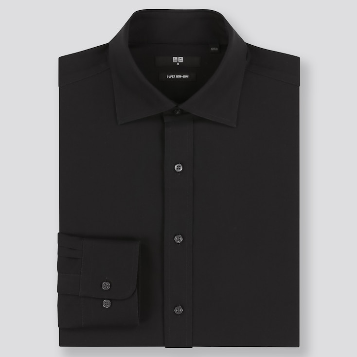Men Super Non-Iron Regular-Fit Long-Sleeve Shirt (Online Exclusive), Black, Large