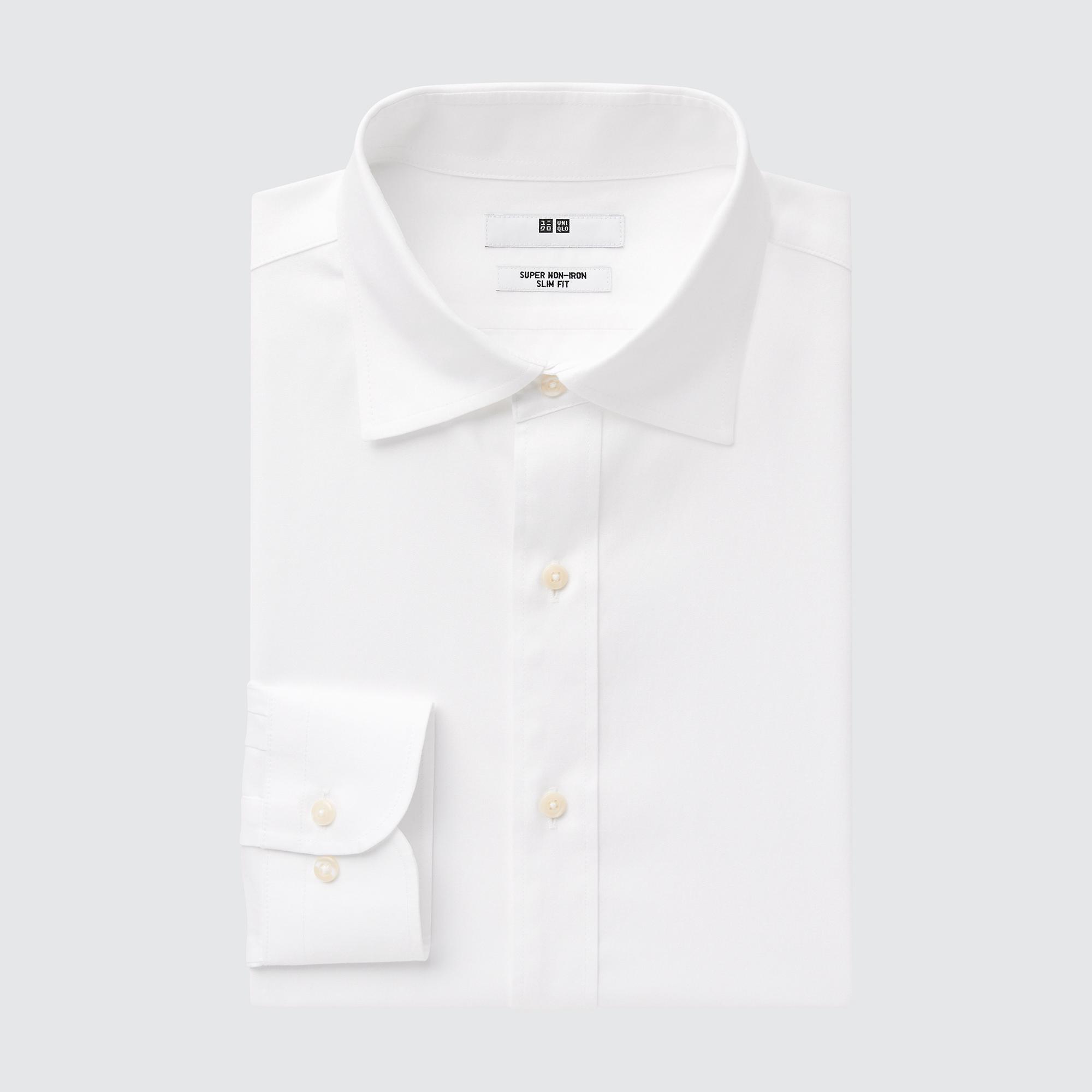 Uniqlo men super non-iron slim-fit long-sleeve shirt
