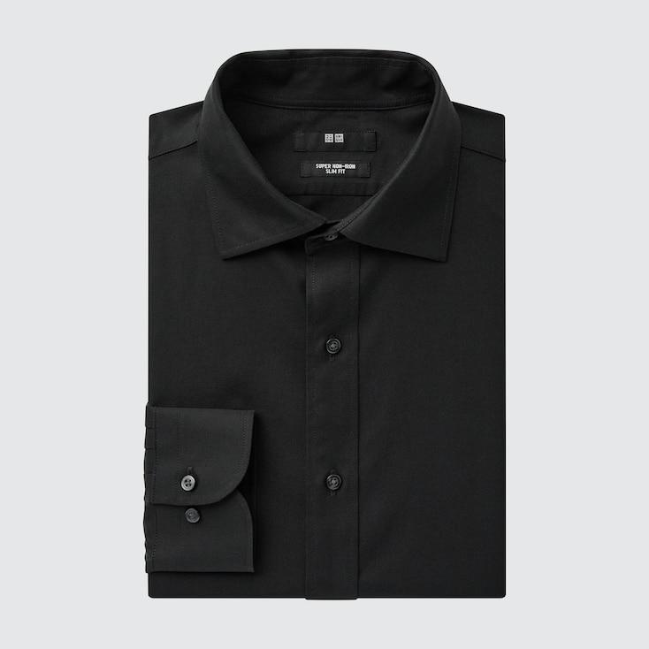 Men Super Non-iron Slim-fit Long-sleeve Shirt, Black, Large
