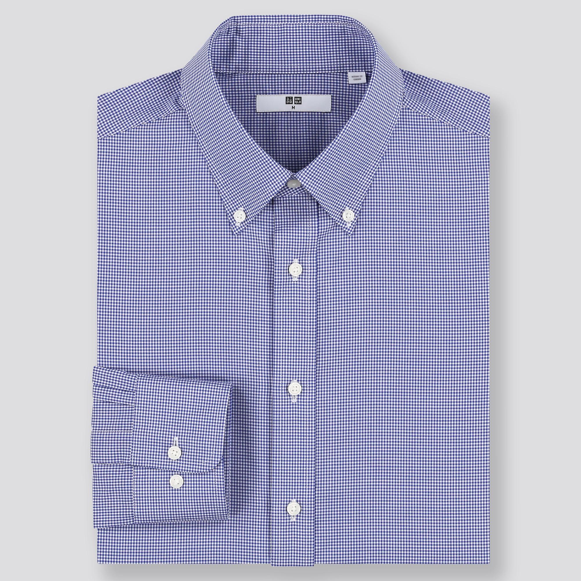 men easy care checked regular-fit long-sleeve shirt