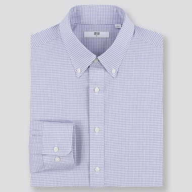 MEN EASY CARE CHECKED REGULAR-FIT LONG-SLEEVE SHIRT (ONLINE EXCLUSIVE), BLUE, medium