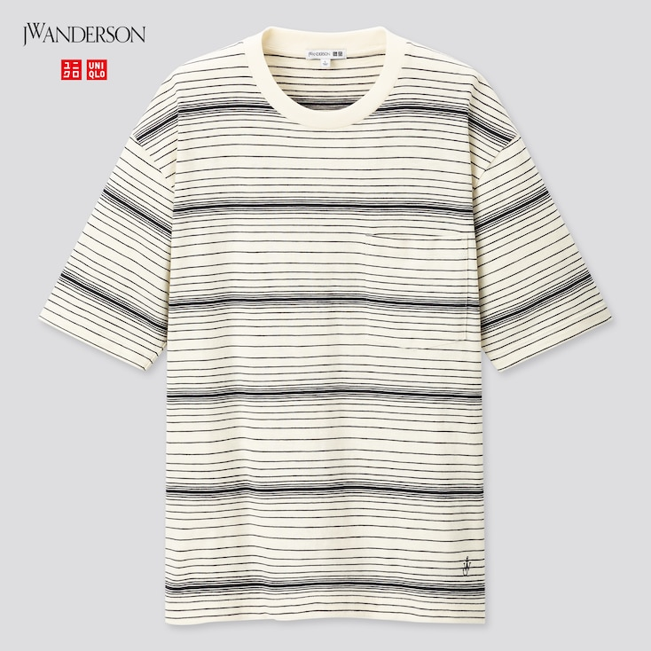 Men Striped Short-Sleeve T-Shirt (Jw Anderson), Off White, Large