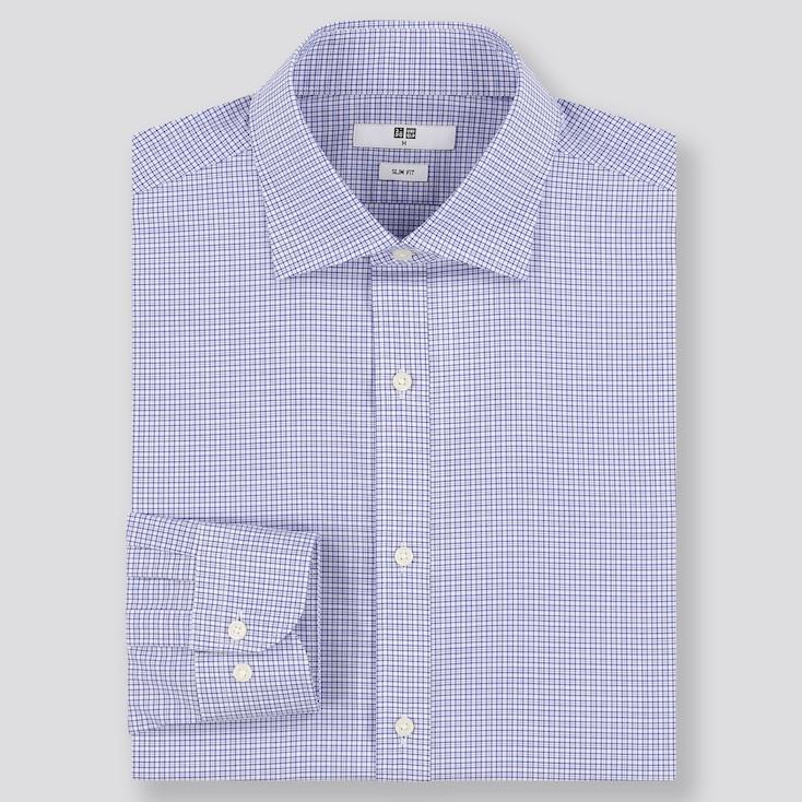 Men Easy Care Slim Fit Checked Shirt (Semi Cutaway Collar) by Uniqlo