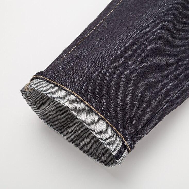 Men Selvedge Classic Fit Jeans, Navy, Large