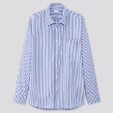 Men Extra Fine Cotton Broadcloth Long-Sleeve Shirt, Blue, Medium