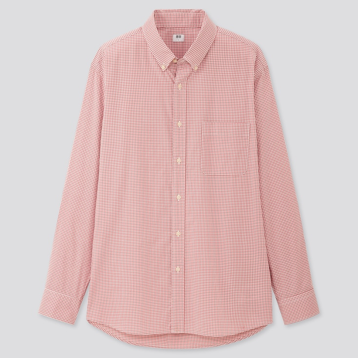 Men Extra Fine Cotton Broadcloth Long-Sleeve Shirt, Pink, Large