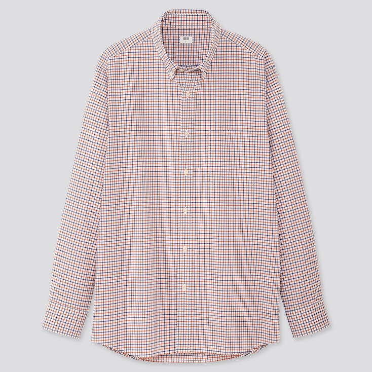 Men Extra Fine Cotton Broadcloth Long-sleeve Shirt, Orange, Large