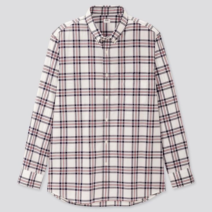 Men Extra Fine Cotton Broadcloth Long-Sleeve Shirt, White, Large